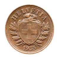 KM# 4.2a - Schon# 16 - 2 Rappen - Helvetia - Switzerland 1933B (EF)