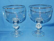 2 Claudia Crystal Golf Ball Stem Platinum Rim Goblets Sherbet Cocktail Glasses