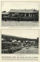 War in Korea American Marines Japanese Soldiers Photographs 1904 old print