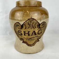 """More details for antique stoneware tobacco jar hand painted """"shag"""" decoration cracked height 18cm"""