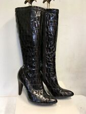 LOTUS DARK BROWN PATENT CROC PRINT HEELED BOOTS SIZE 5/38