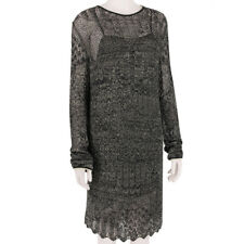 Emilio Pucci Luxurious Black Gold Shimmer Sheer Knitted Tunic Dress S UK8