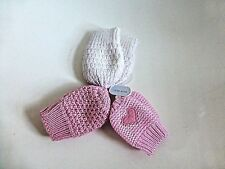 Pack of 3 Pairs of Baby Girl's Mittens - Pink & White - ONE SIZE- NEW