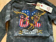 NEW TAGGED REPLAY age 4 long sleeve DARK GREY  T SHIRT    USA FLAG