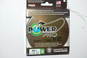 power pro braided fishing line super 8 slick V2  65lb 150yd spool hi-vis aqua