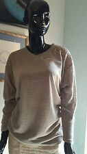 VLD  v-neck pullover top with front zipper accent and crocheted shoulders. Sz XL