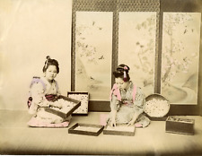 Japon, Girls Gathering Silk Cocoons Costume Vintage albumen print.  Tirage alb