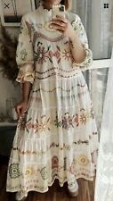 Zara Embroidered Dress White Long Maxi Tiered Flowing Floral Trinny BNWT/ Size S