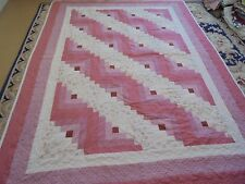 Nice Rose & Cream Log Cabin w/Frame Quilt
