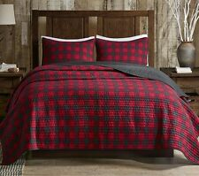 CABIN BUFFALO CHECKS King QUILT SET : COUNTRY WESTERN LODGE RED PLAID BED
