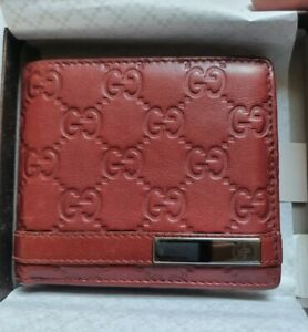 Gucci GG Wallet Red Leather Genuine With Box