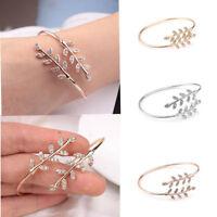 New Adjustable Women Lady Bracelet Party Jewelry Gold Silver Leaf Bangle Fashion