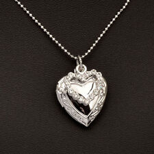 2017 Fashion Rhinestone Open Heart Necklace Chain For Women Silver Plated