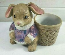Rabbit Bunny Figurine 4.75� Utensil Holder Ceramic Container