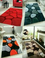 A 3D TEXTURED PEBBLE STONE HAND TUFTED RUGS SMALL LARGE SOFT THICK DENSE 35MM