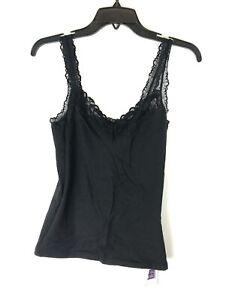 Hanky Panky, Women's Black Cotton Lace Cami, Size Small
