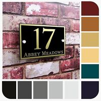 MODERN HOUSE NAME NUMBER PLATE GLASS EFFECT DOOR SIGN PROPERTY ADDRESS PLAQUE