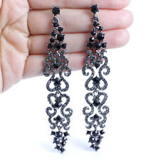 LONG AUSTRIAN CRYSTAL RHINESTONE CHANDELIER DANGLE EARRINGS EARRING E2101B BLACK