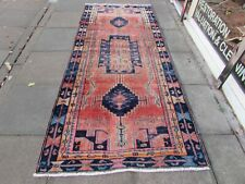 Shabby Chic Worn Vintage Hand Made Traditional Pink Blue Wool Long Rug 292x125cm