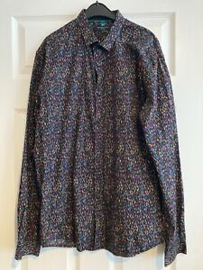 Mens Selected Homme Shirt Black With Multicoloured Pattern Size Medium Slim Fit