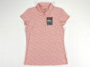 Puma Polka Dot Golf Polo Shirt Peachskin Rose Wine Red Womens SZ S ( 597699 )