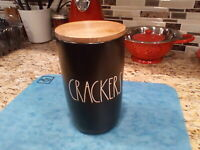 "NEW RAE DUNN LL ""CRACKERS"" Black Cellar Canister With Wood Lid By Magenta"