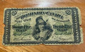 1870 25 TWENTY FIVE CENTS SHINPLASTER DOMINION OF CANADA BANKNOTE