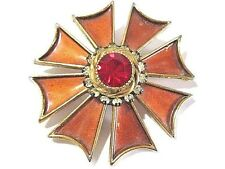 Beautiful Maltese Pin From Har Rust Orange Enamel Red Center Stone Rhinestones