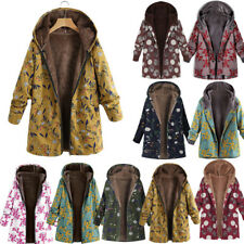 Lady Women Winter Thick Outwear Floral Print Hooded Pockets Coat Jacket Overcoat