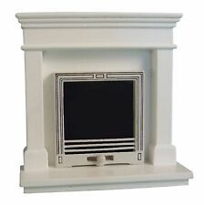 DOLLS HOUSE 1/12 SCALE MODERN WHITE FIREPLACE
