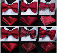 Red Burgundy Men's Self Bow Tie Set Woven Silk Plaid Party Wedding