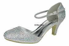 Silver Glitter Womens Party Diamante Evening Wedding Bridal Prom Mary Jane Low Heel Shoes - UK Size 5