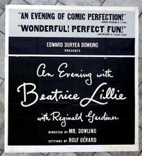 1950's Vintage BEATRICE LILLIE / REGINALD GARDINER Broadway Theatre Poster