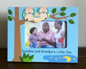 Blue Photo Frame Grandma and Grandpa's Little One Baby Gift - Hand Painted