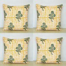 "Green & Yellow 4 Pcs Set Indian Hand Block 16"" Cotton Pillow Case Cushion Covers"