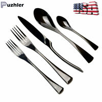 20 piece Mirror Black Stainless Steel Flatware Set Fork Spoon Cutlery Silverware
