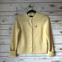 Ralph Lauren XS Yellow 100% Lambswool Long Sleeve Button Down Cardigan Sweater