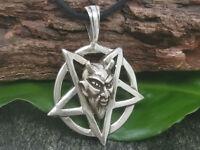 Pentagrama Colgante de Plata 925 Baphomet Pagano Pentáculo Diablo Black Metal