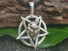 Pentagramme Pendentif en argent 925 BAPHOMET Pagan PENTACLE DIABLE NOIR métal