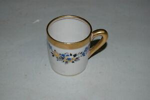 Vintage Concord Fine China Demitasse Cup Mug Gold Rim Accents USA Blue Floral