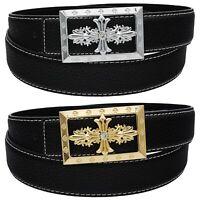 QHA Mens Womens Fashion Leather Belt Jesus Cross Style Casual Luxury Pin Buckle