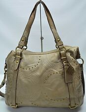 Coach Alexandra Bronze Op Art Embossed Leather Studded Convertible Tote 15276