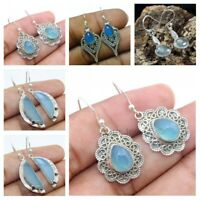 Blue Chalcedony Gemstone Earrings 925 Sterling Solid Silver Gift Jewelry