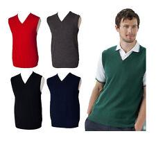Mens Henbury Lambswool Knitted Sleeveless Jumper Sweater Tank Top V Neck Golf