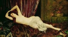 Huge stunning Oil painting nude young beautiful woman sleeping on the bed