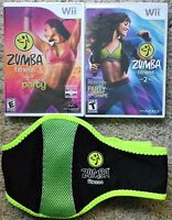 NEW Zumba Fitness 1 & 2 Nintendo Wii Exercise Work Out Games with belt