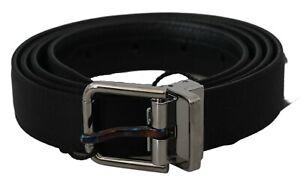 DOLCE & GABBANA Belt Black Solid Leather Cotton Gray Buckle 115cm /4