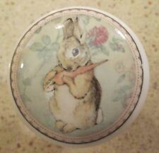 Shabby Peter Rabbit White Ceramic Porcelain Cabinet Drawer Knobs Vintage Decals