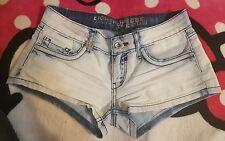 "Women Ladies Eighth Sin Light Blue Denim Shorts Jeans Size 28"" low waist"