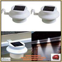 Solar Power Motion Sensor White LED Gutter Light Outdoor Wall Fence Garden